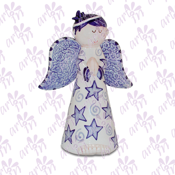 Angelito candelero grande estrellas azul marino 20x15 cm