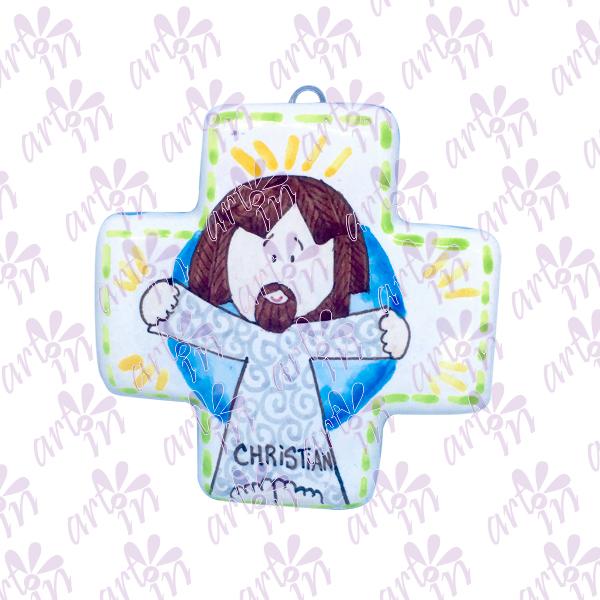 Cruz cuadrada Jesús 10x10 cm
