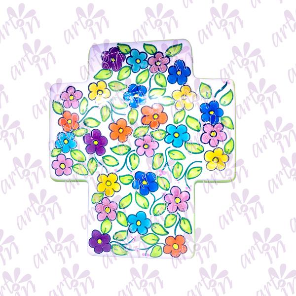 Cruz grande flores 22x19 cm