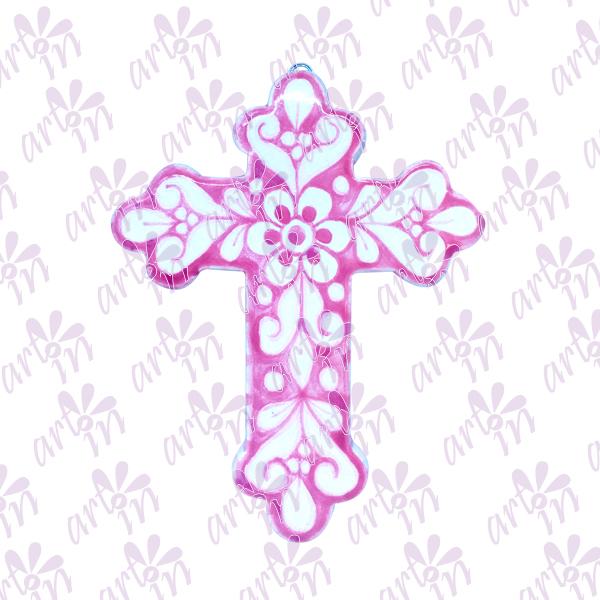 Cruz loto rosa 15x12.5 cm