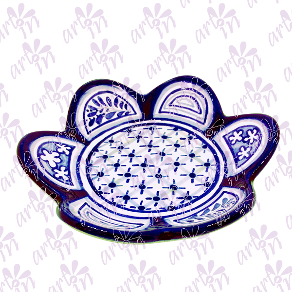 Portavela flor azul 3x16 cm