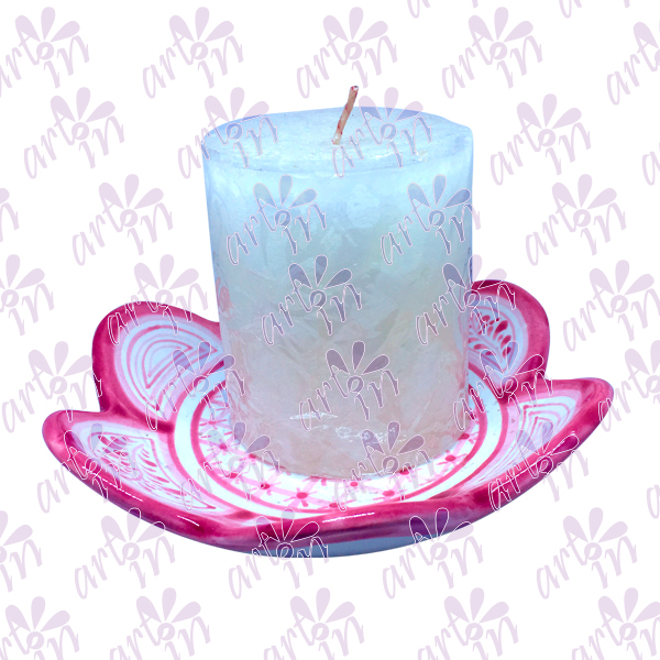 Portavela flor rosa 3x16 cm