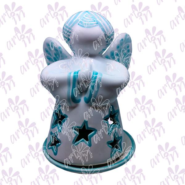 Angelito calado con estrellas azul 17x11 cm