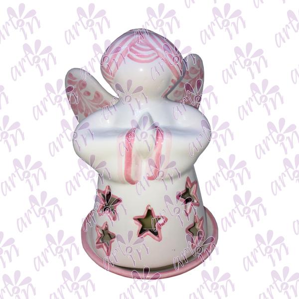Angelito calado con estrellas rosa 17x11 cm