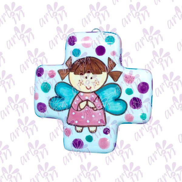 Cruz cuadrada Angelita 10x10 cm