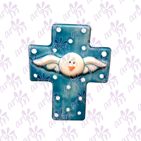 Cruz mini azul Espíritu Santo 8x6.5 cm