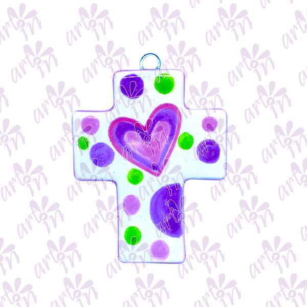 Cruz mini corazón 8x6.5 cm
