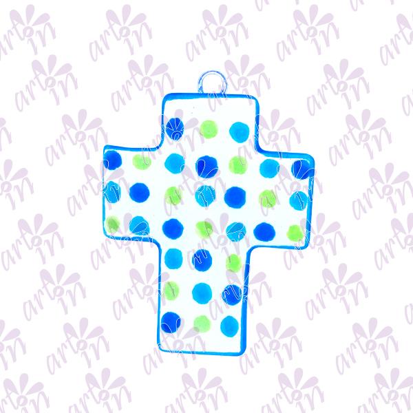 Cruz mini puntos azul 8x6.5 cm