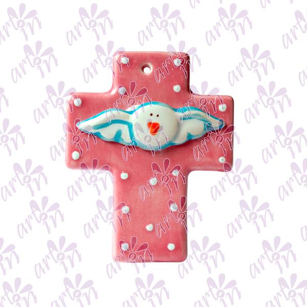 Cruz mini rosa Espíritu Santo 8x6.5 cm