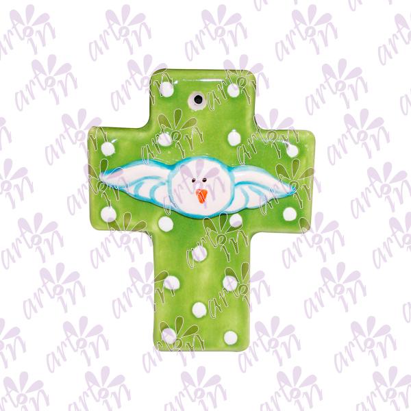 Cruz mini verde Espíritu Santo 8x6.5 cm