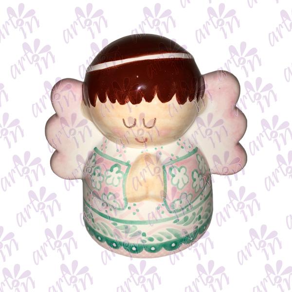 Alcancía Angelita rosa y menta 12x14 cm