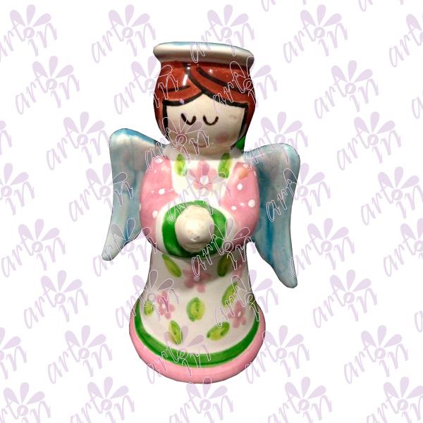 Angelita candelero chico rosa 13X17 cm