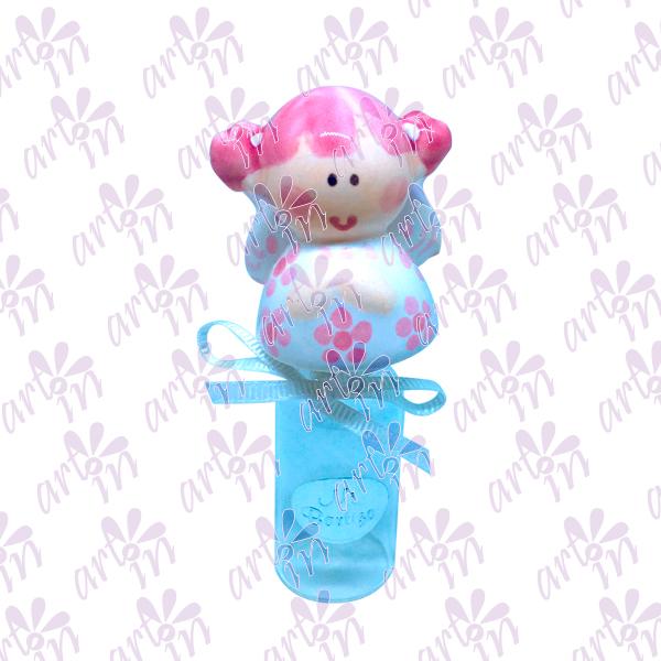 Frasco para agua bendita angelita rosa 10x4.5 cm