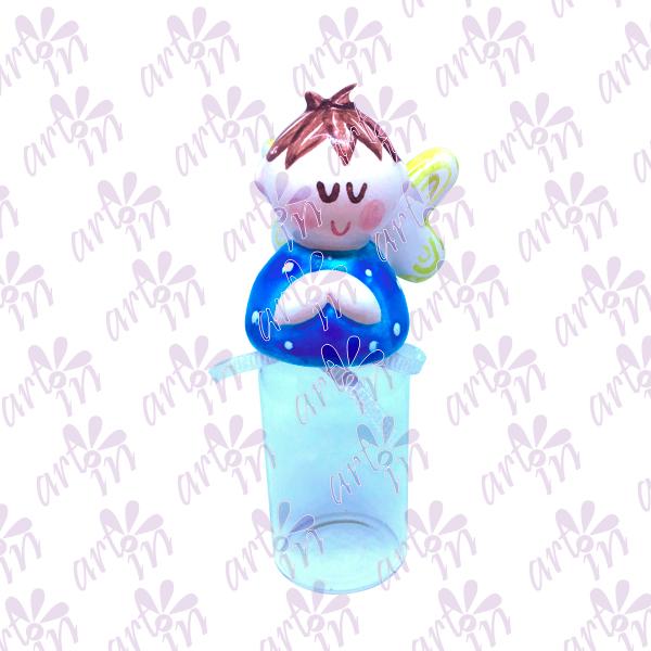Frasco para agua bendita angelito azul 10x4.5 cm