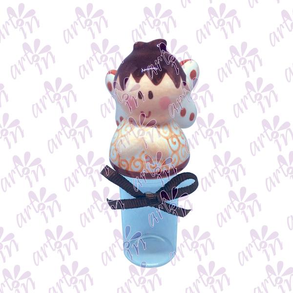 Frasco para agua bendita angelito café 10x4.5 cm