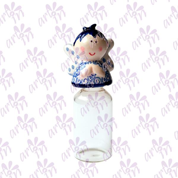 Frasco para agua bendita angelito talavera 10x4.5 cm